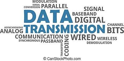 transmisja, słowo, -, chmura, dane