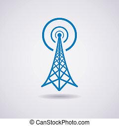 transmisja, wieża, wektor, radio, ikona