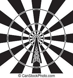 transmisja, wieża, wektor, radio