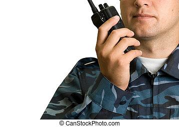 transmisor, guardia, manos