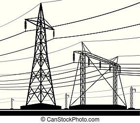 transmissão, diferente, linhas, elétrico