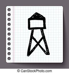 transmissão, doodle, torre