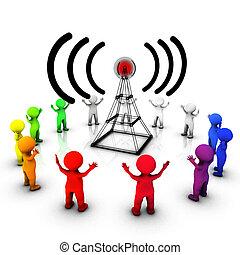 transmissão, informando, rádio, público