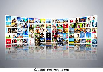 transmissão, largo, modernos, quadros, multimedia, telas,...