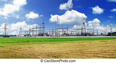 transmissão, lines., substation, poder
