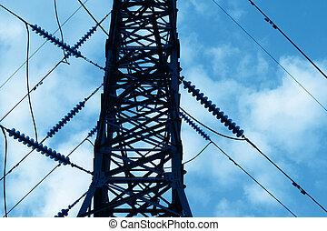 transmissão, linha poder