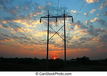 transmissão, linha poder, ligado, pôr do sol