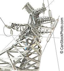 transmissão, linha., poder, render, 3d