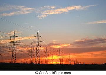 transmissão, pôr do sol, linhas, poder elétrico
