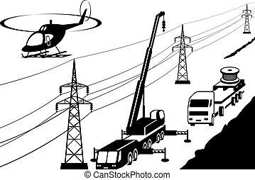 transmissão, reparar, linha, elétrico, manutenção