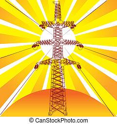 transmissão, sol, linha, raios