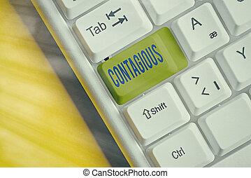 transmissible, nota, sobre, vacío, escritura, copia, contacto, o, individuo, llave, papel, contagious., teclado, space., empresa / negocio, pc, infected, showcasing, directo, actuación, blanco, foto, indirecto