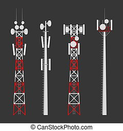 Transmission cellular wireless towers vector set