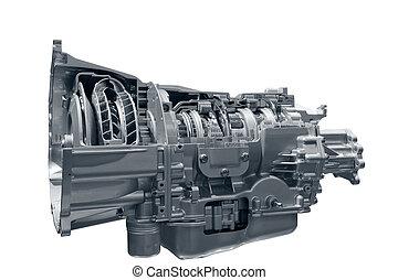 Concept of land vehicle transmission box isolated on white background.