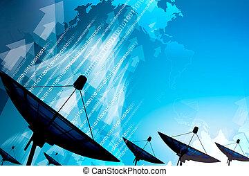 transmission données, plat satellite