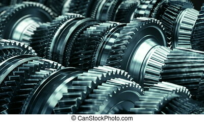 Transmission gearbox gear box automotive auto car working animation loop TOP QUALITY HIGH defocused bokeh dark