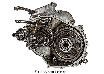 Transmission gears, isolated on a white background, with clipping path