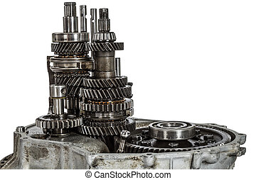 Transmission gears, isolated on a white background, with...