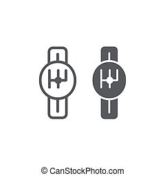 Transmission line and glyph icon, car and part, gearbox sign, vector graphics, a linear pattern on a white background.