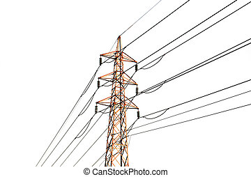 transmission lines in warm sunlight isolated on white...