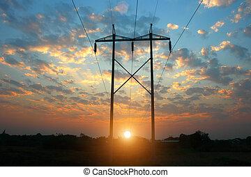 transmission power line on sunset, transmission tower,...