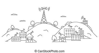 Transmission tower on landscape with signal waves -...