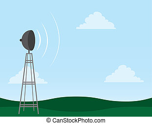 Transmission Tower - Transmission tower in field with signal...