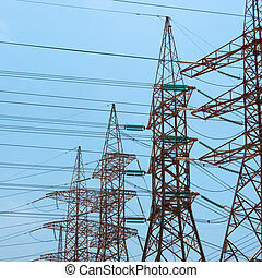 transmission, towers., a haute tension, puissance