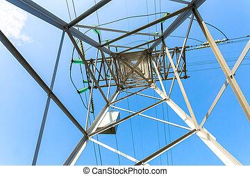 transmission, vue, tension, tour, élevé, structure, tower., électrique, intérieur, puissance