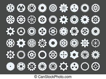 transmissions., 強力, set., ラウンド, はめば歯車, spacers, 工学, 穴, ギヤ, 金属, 産業, コンポーネント, 大きい, 歯, tracery, 雪片, メカニズム, circle., 多数, グラフィック, ベクトル