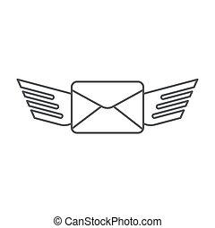 transmitir, aislado, vector, plano de fondo, mensaje, blanco, icono