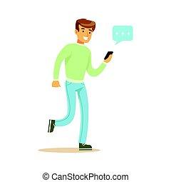 transmitir, ambulante, alguien, colorido, el suyo, carácter, joven, ilustración, vector, utilizar, mensaje, smartphone, hombre