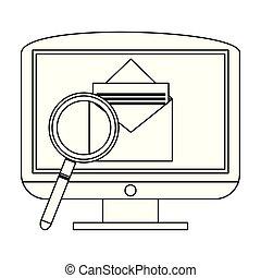 transmitir, blanco, negro, email, pc