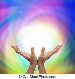 transmitir, curación, energía, afuera