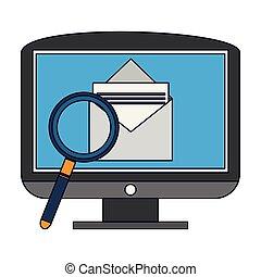 transmitir, email, pc