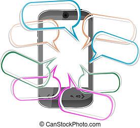 transmitir, móvil, sms, moderno, mensajes, teléfono., elegante