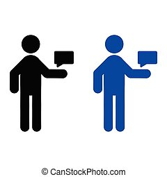 transmitir, mensaje, hombre, icono
