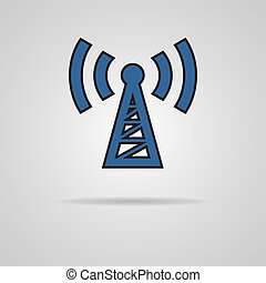 Transmitter icon on gray background. EPS10 vector