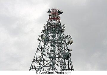 Transmitter - Communication transmitter tower against clear...