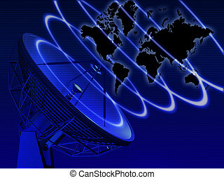 World map with telecommunication equipment