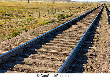 Transmongol Railway, single-track railway in steppe, Mongolia