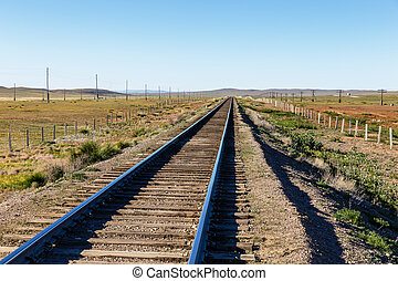 Trans-Mongolian railway, single-track railway in the Mongolian steppe, Mongolia