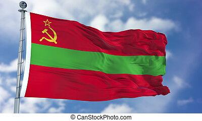 Transnistria Flag in a Blue Sky