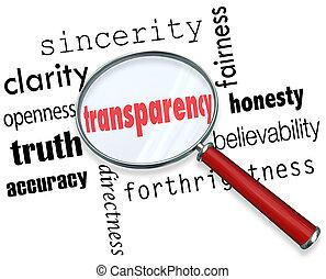 transparência, palavra, lupa, sinceridade, franqueza,...