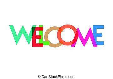 transparant, bienvenida, carta, colorido