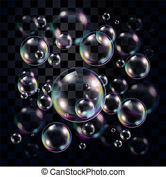 transparant, en, veelkleurig, de bellen van de zeep, op, donker