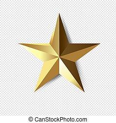 transparant, ster, gouden achtergrond, vrijstaand