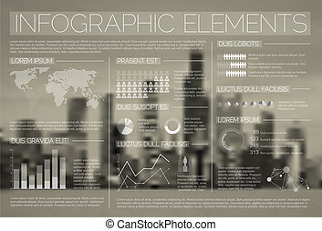 transparant, vector, set, van, infographic, communie
