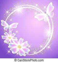 transparant, vlinder, bloemen, en, schittering, sterretjes