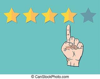 transparence, non, pointage, concept., vecteur, gestion, reussite, qualité, cinq, évaluation, revue, réaction, stars., main, illustration, une, classement